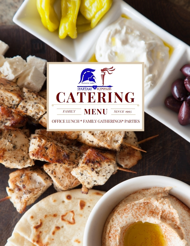 Spartans and Olympians Restaurant Catering Menu Cover